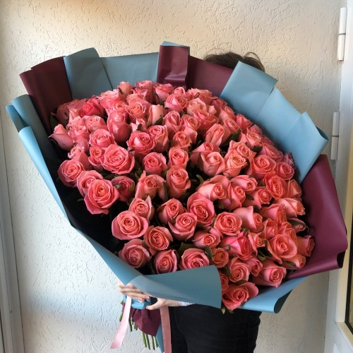 Букет 101 розовая роза с доставкой в Самаре