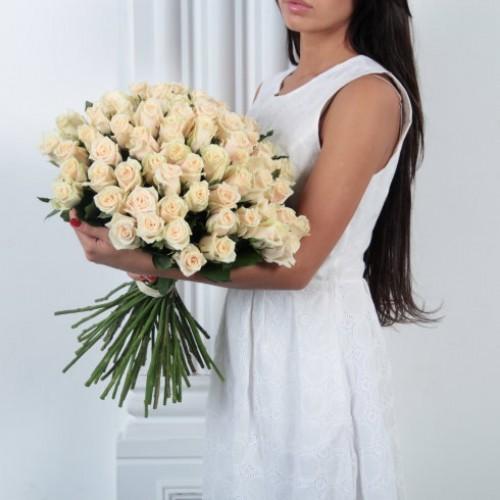 Букет 51 кремовая роза с доставкой в Самаре